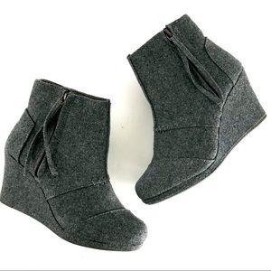 Toms wool wedge booties